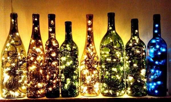 Как сделать светильник из бутылки к Новому году
